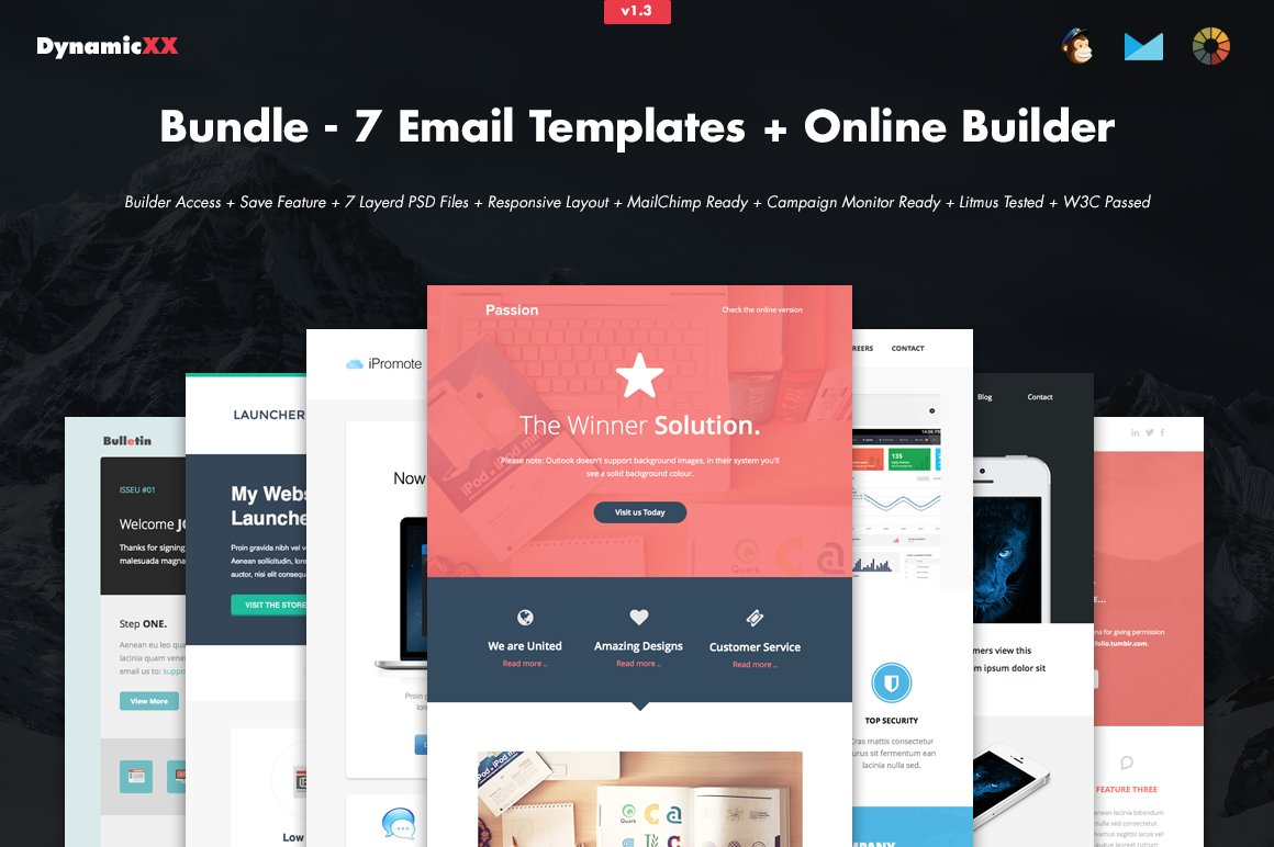 Bundle - 7 Email Templates + Builder ~ Email Templates ~ Creative Market