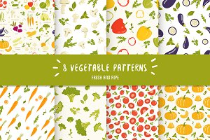 8 Seamless vegetable patterns