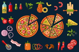 Vector Pizza Icons Set