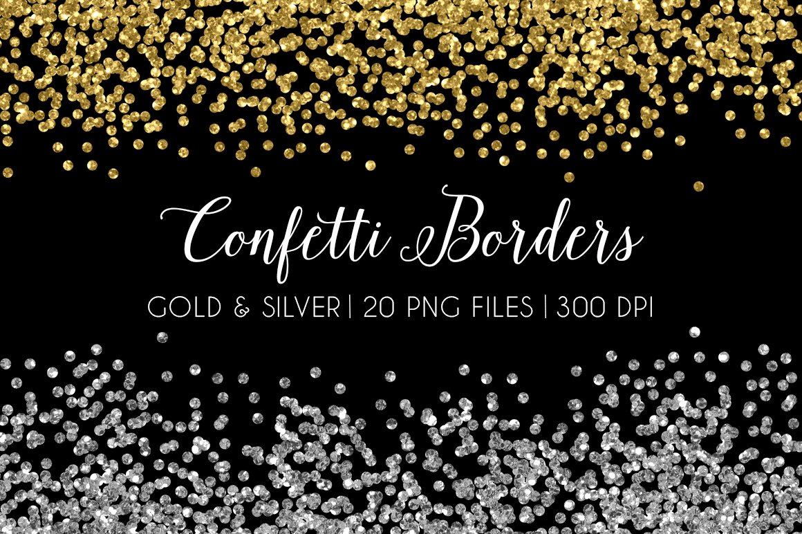Glitter Confetti Border Gold Silver ~ Illustrations ...