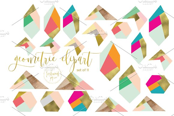 geometric clipart abstract shapes graphics creative market