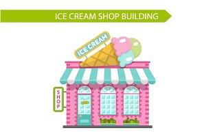 Vector Ice Cream Shop Building