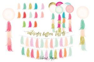 watercolor tassels clipart - balloon