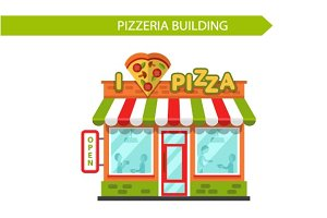 Vector Pizza Shop Building