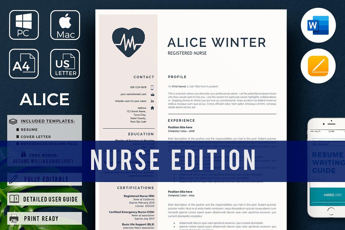 Nurse Resume, Cover L. + References ~ Resume Templates ...