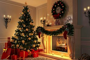 3D rendering New year interior