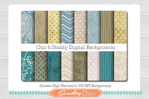 Chic & Shabby Digital Backgrounds