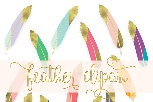 Feathers clipart - gold tip feathers
