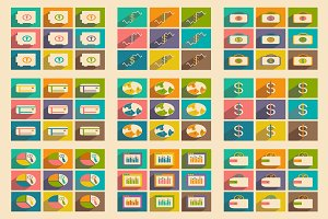 Flat concept bussiness icons