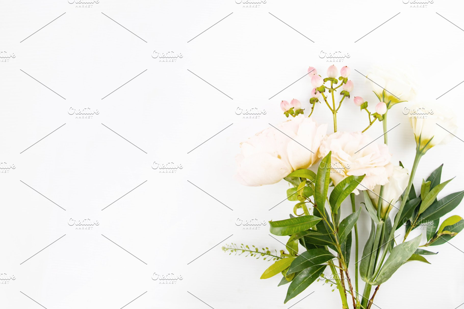 Rustic Floral On White Background High Quality Arts