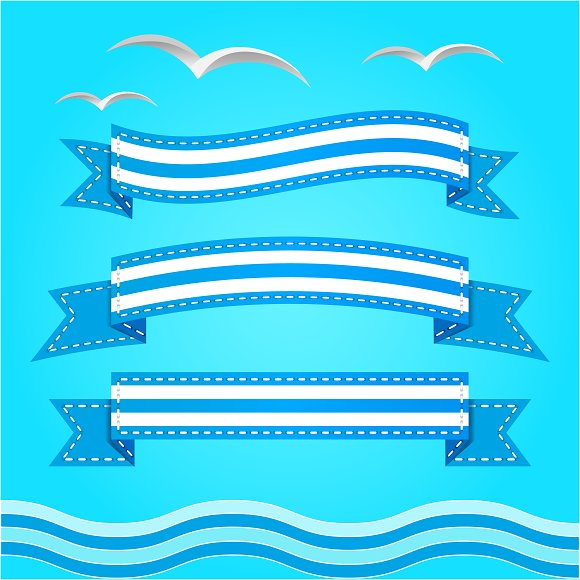 Vector banner set. Ribbons. - Illustrations