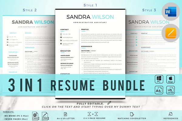 1 2 3 Pages Word Resume Template Creative Resume Templates