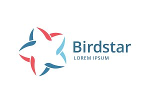 Abstract bird star logo template