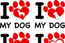 Text With Heart Paw Collection