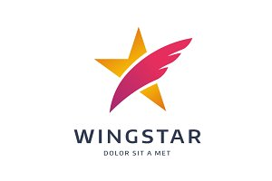 Abstract star wing logo template