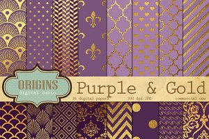 Purple and Gold Digital Paper Pack