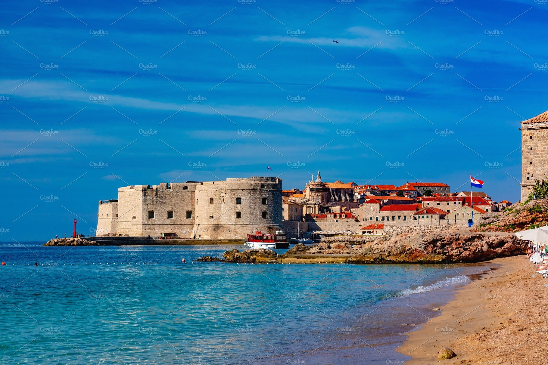 Square Landscape With Old Fortress Croatia Dubrovnik High