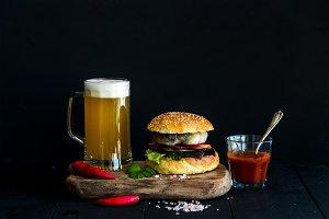 Fresh homemade burger & light beer