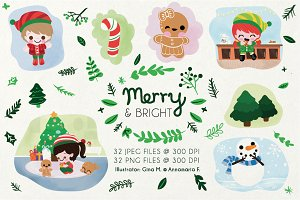 Merry and Bright Holiday Clipart