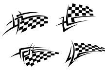 Tribal tattoo with racing flag