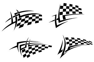 Tribal tattoo with racing flag