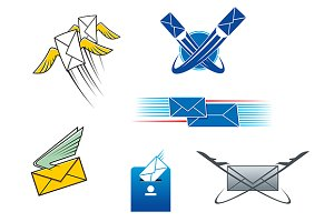 Post mail and letters symbols