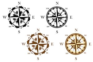 Set of antique compasses