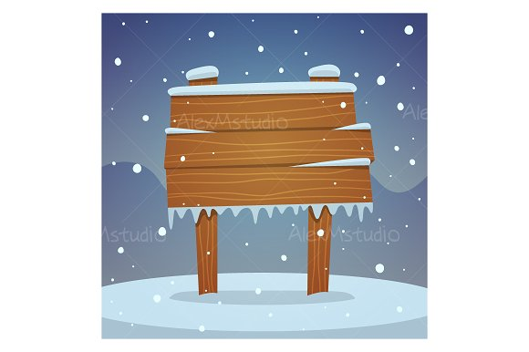 Wooden board in snow in Illustrations