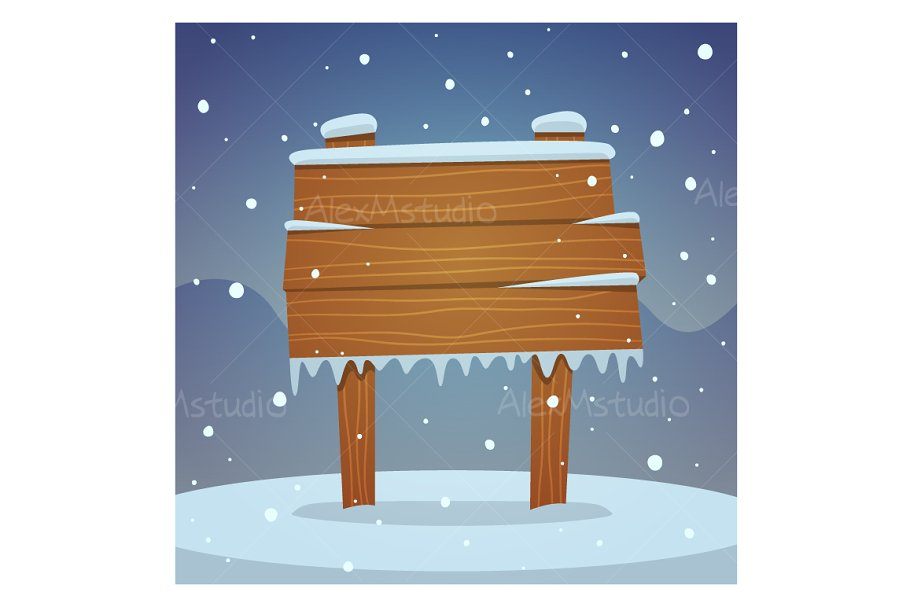 Wooden board in snow in Illustrations - product preview 8