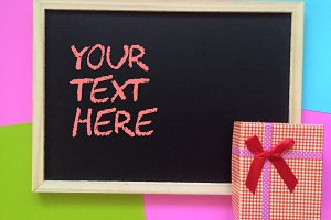 blackboard with gift box