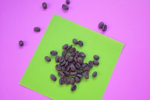 coffee beans on colorful background