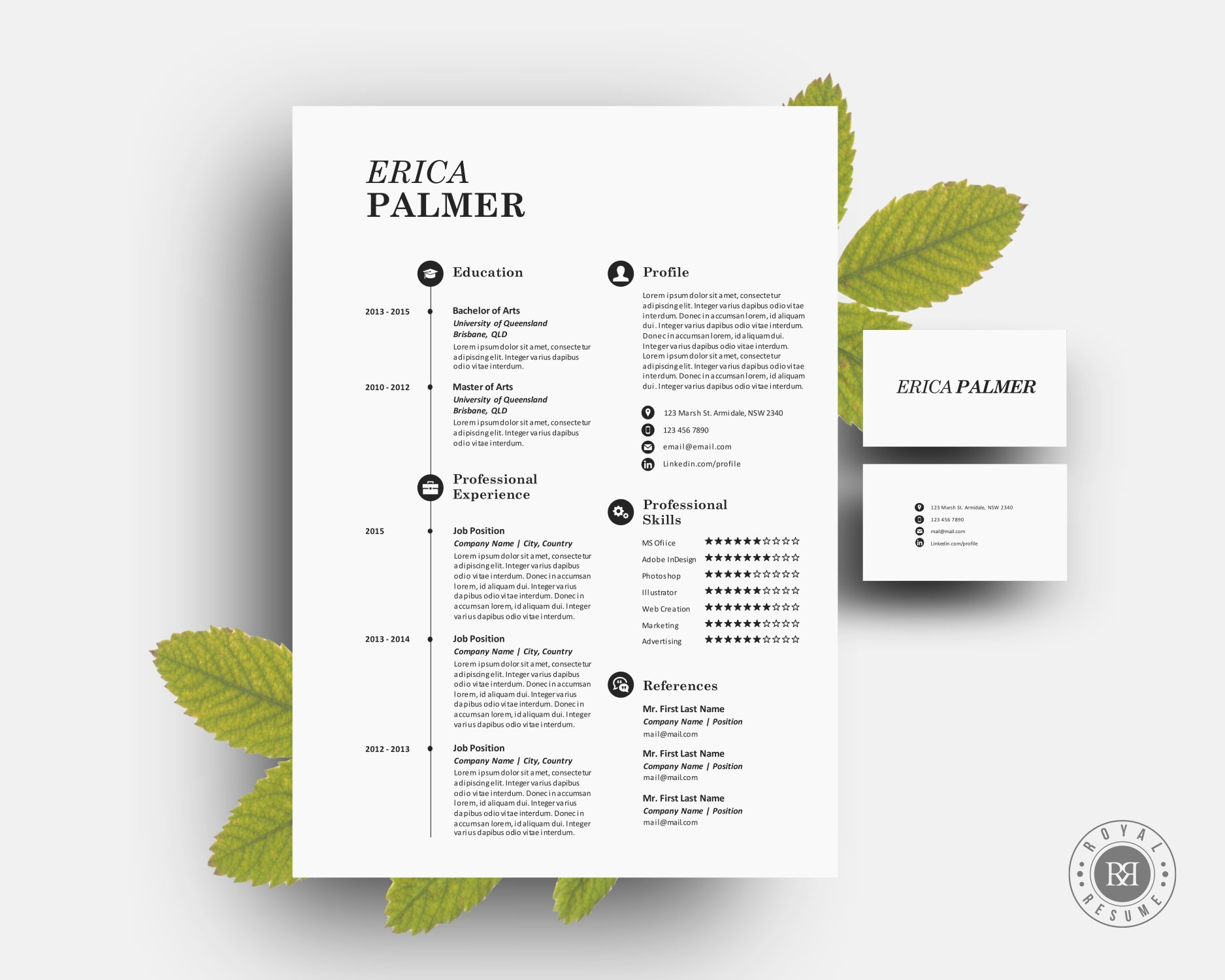 docx resume pack with business card resume templates on creative market
