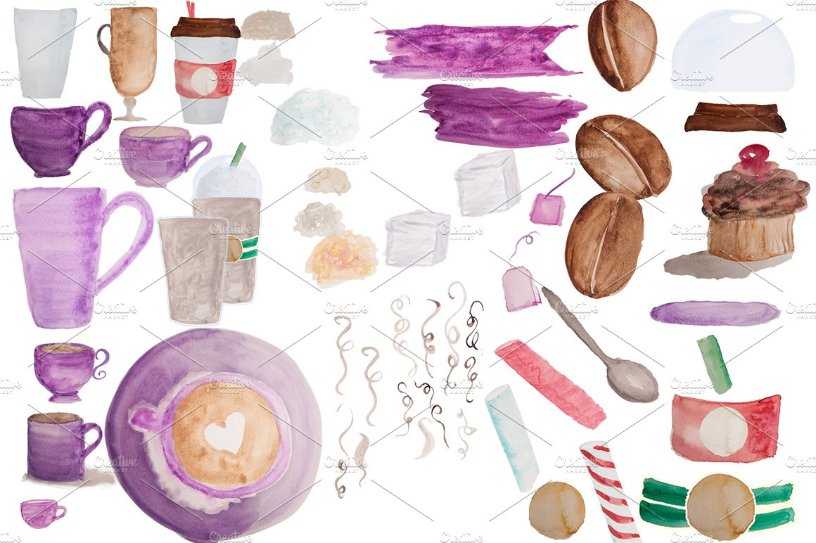 52 Coffee Watercolor clipart/brushes ~ Illustrations ...