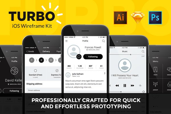 Wireframe Kits: Just UI - TURBO iOS Wireframe Kit