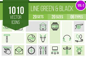 1010 Line Green & Black Icons (V3)