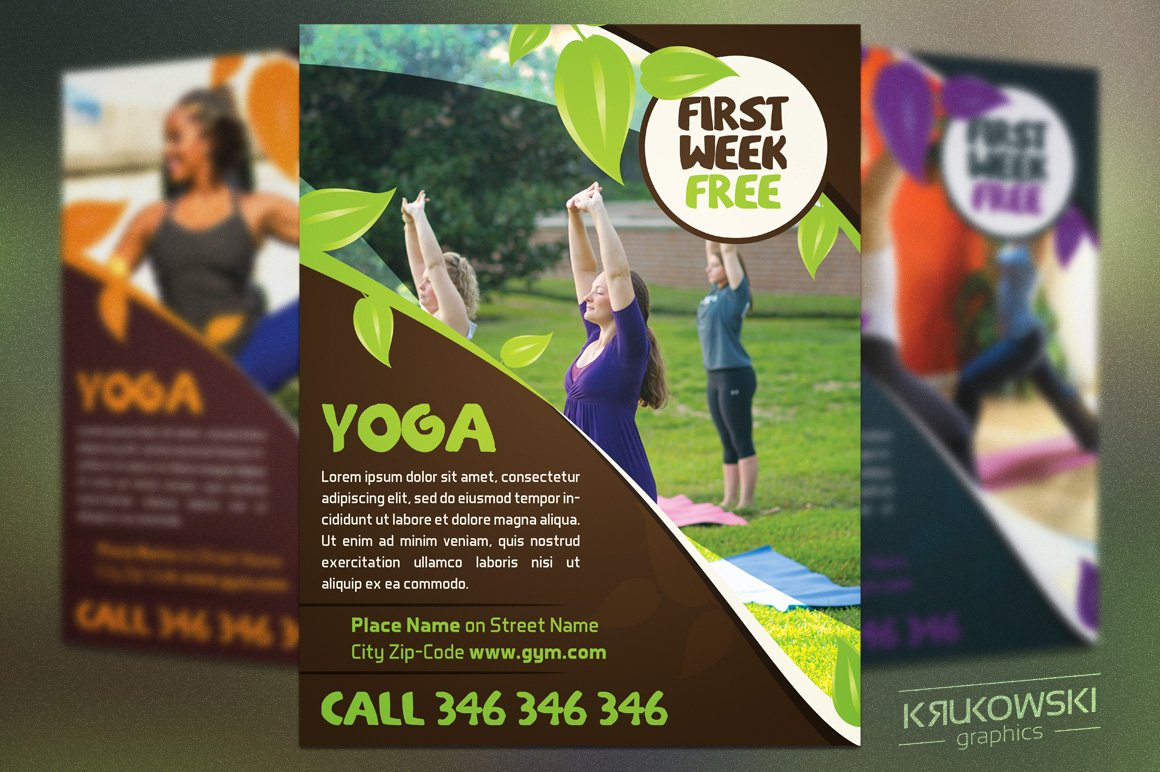 Close To Nature Yoga Flyer Template Flyer Templates Creative Market