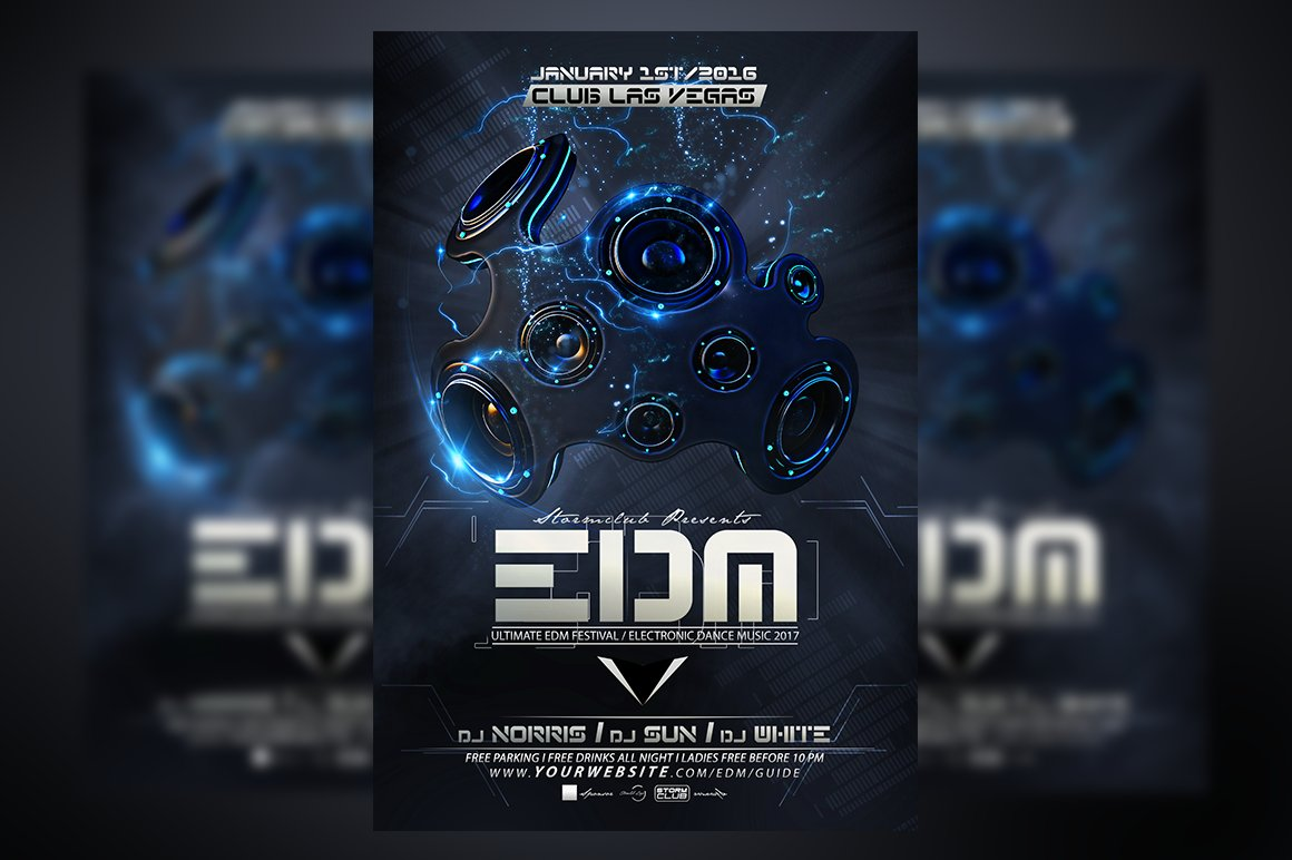Edm dj flyer template flyer templates creative market for Html edm template