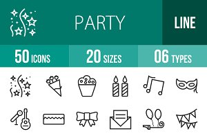 50 Party Line Icons