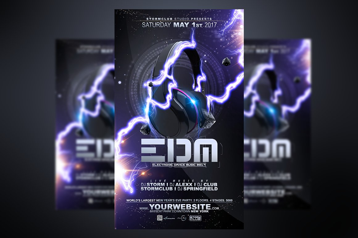 Edm flyer template flyer templates creative market for Html edm template