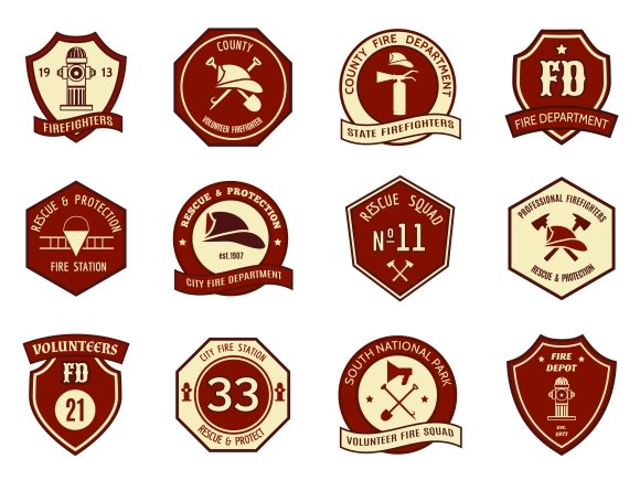 Beautiful Fire department logo and badges ~ Graphics ~ Creative Market HQ75