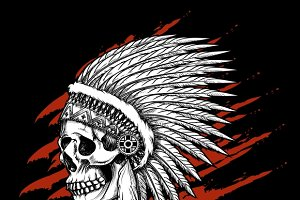 Indian tribal skull with feathers