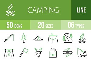 50 Camping Green & Black Icons