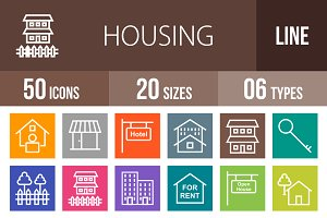 50 Housing Line Multicolor Icons