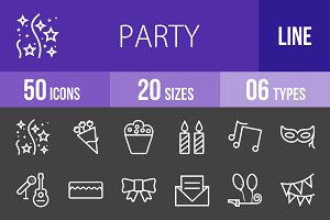 50 Party Line Inverted Icons