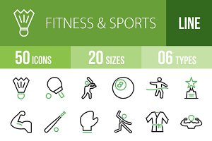 50 Fitness&Sports Green&Black Icons