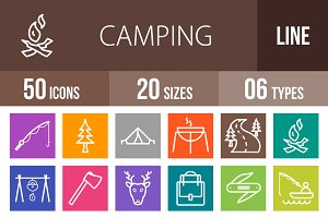 50 Camping Line Multicolor Icons
