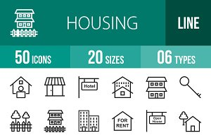 50 Housing Line Icons