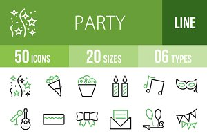50 Party Green & Black Icons