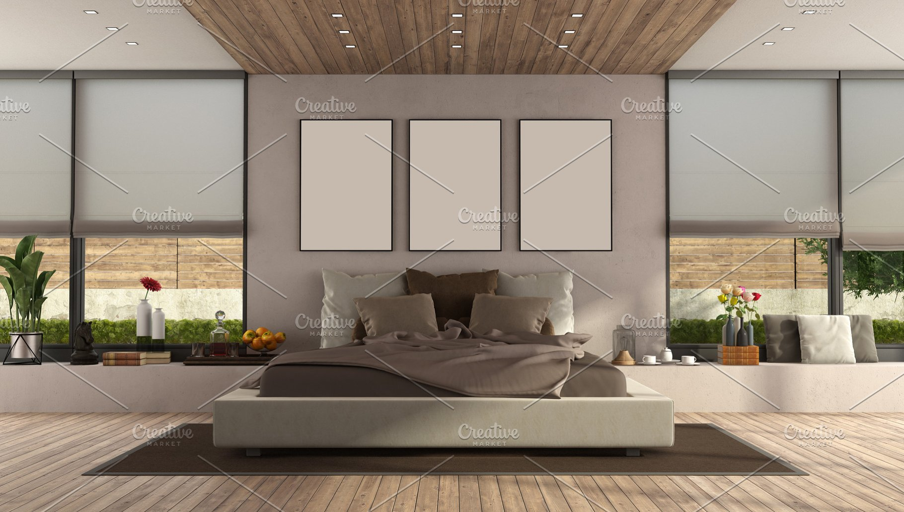 Modern master bedroom with large dou