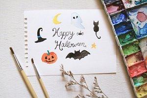watercolor of halloween